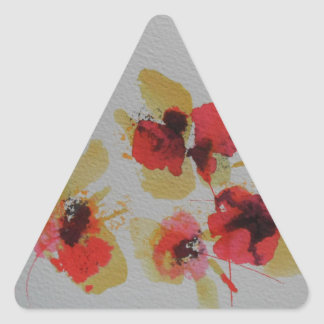 Scatter of scarlet red poppy flowers triangle sticker
