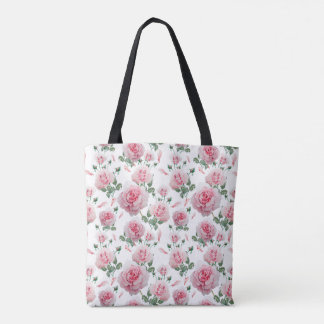 Scatter Pink Roses Pattern Tote Bag