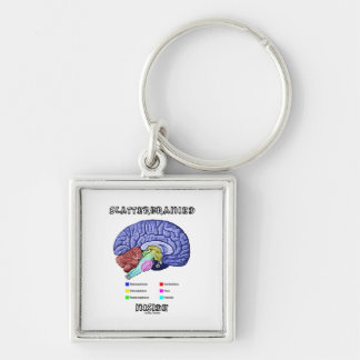 Scatterbrained Inside (Brain Anatomy Humor) Silver-Colored Square Keychain