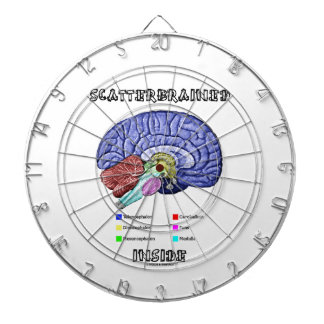 Scatterbrained Inside (Brain Humor) Dartboard With Darts
