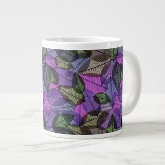 Scattered Autumn Leaves Purple Green & Pink 20 Oz Large Ceramic Coffee Mug