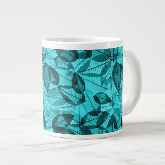 Scattered Autumn Leaves Shades of Turquoise Giant Coffee Mug