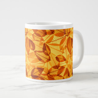 Scattered Autumn Leaves Shades of Yellow & Orange. Large Coffee Mug