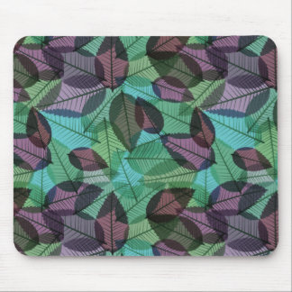 Scattered Autumn Leaves Turquoise & Purple Mouse Pad