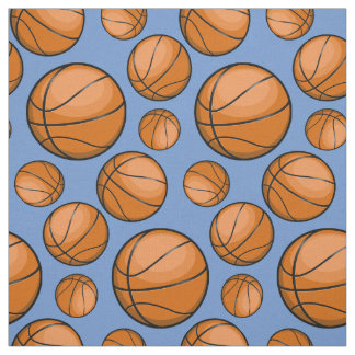 Scattered Basketballs Light Blue Fabric