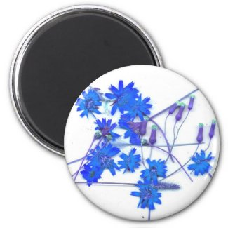 Scattered blue colored wild flowers magnet
