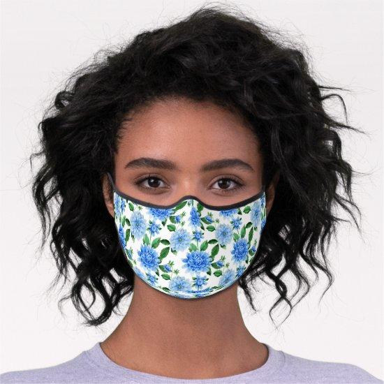 Scattered Blue Dahlia Floral Pattern Premium Face Mask