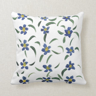 Scattered blue flower throw cushion