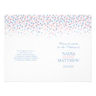 Scattered confetti dots pink blue wedding program