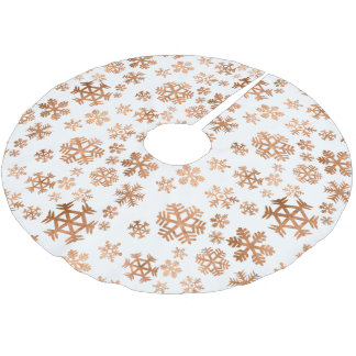 Scattered Copper Snowflakes Christmas Tree Skirt
