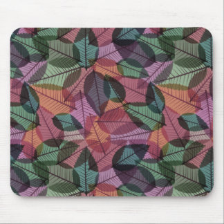 Scattered Fall Leaves Green Taupe & Salmon Mouse Pad