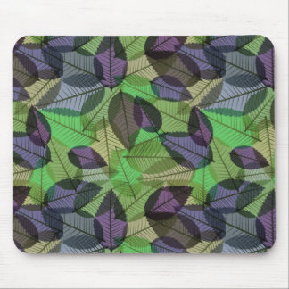 Scattered Fall Leaves Light Purple & Green Mouse Pad