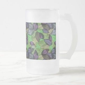Scattered Fall Leaves Light Purple & Green Mugs
