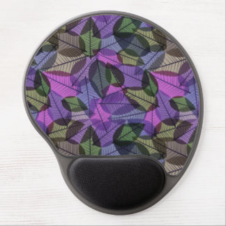 Scattered Fall Leaves Purple Green & Pink Gel Mouse Mat
