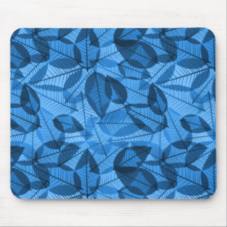 Scattered Fall Leaves Shades of Blue Mouse Pad