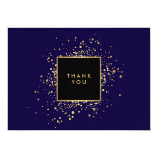 Scattered Faux Gold Confetti Blue Thank You Card