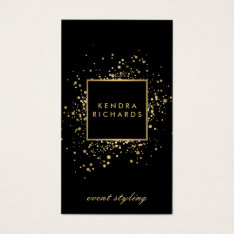 Scattered Faux Gold Confetti On Modern Black Business Card at Zazzle
