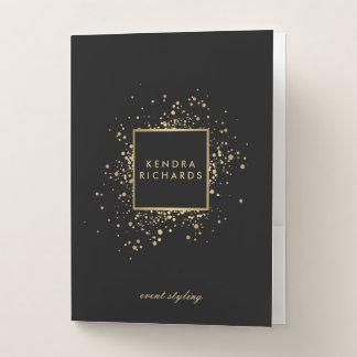 Scattered Faux Gold Confetti on Modern Black Pocket Folder