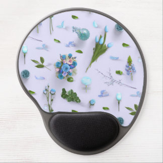 Scattered Flowers Blue Gel Mouse Pad
