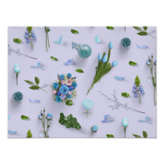 Scattered Flowers Blue Poster