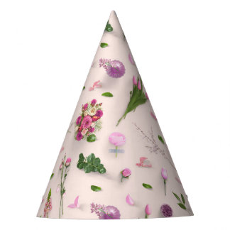 Scattered Flowers Pink Party Hat