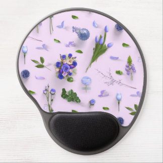 Scattered Flowers Purple Gel Mouse Pad