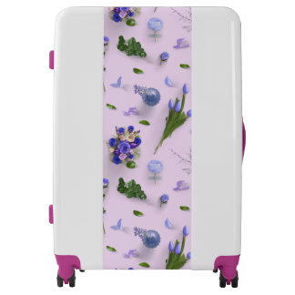 Scattered Flowers Purple Luggage
