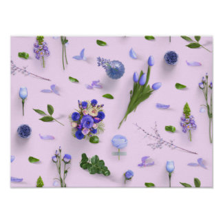 Scattered Flowers Purple Poster