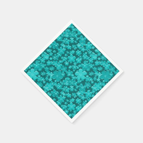 Scattered Flowers, Teal-PAPER PARTY NAPKINS