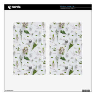 Scattered Flowers White Decal For Kindle Fire