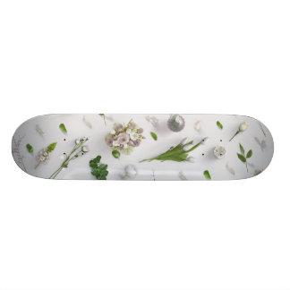 Scattered Flowers White Skateboard Deck