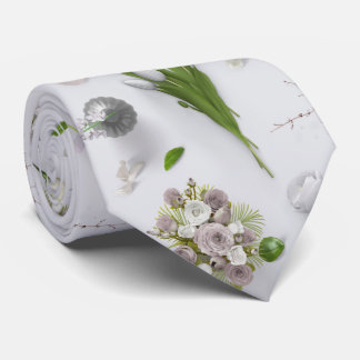 Scattered Flowers White Tie