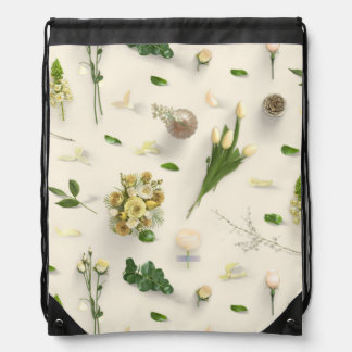 Scattered Flowers Yellow Drawstring Bag