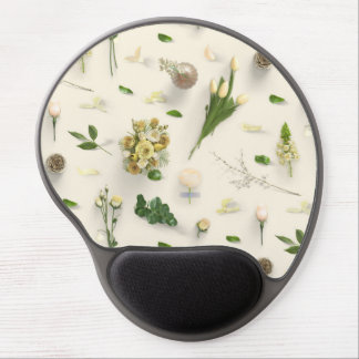 Scattered Flowers Yellow Gel Mouse Pad