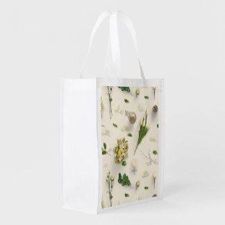 Scattered Flowers Yellow Grocery Bag