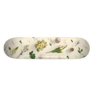Scattered Flowers Yellow Skateboard Deck