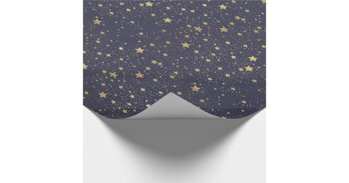 Scattered Gold Navy Blue Stars Wrapping Paper Zazzle Com