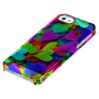 Scattered Hearts Rainbow Clear iPhone SE/5/5s Case