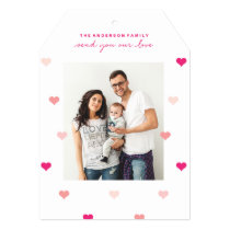 Scattered hearts Valentine's day photo card