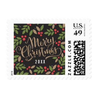 Scattered Holly Christmas Holiday Postage