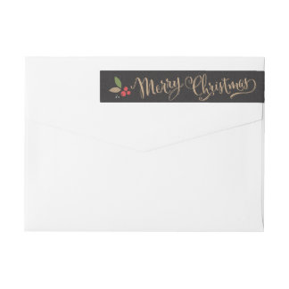 Scattered Holly Wraparound Christmas Address Label
