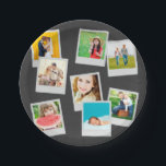 "Scattered Instagram Photo Collage Paper Plate<br><div class=""desc"">Custom printed paper party plates,  personalized with a collage of your square Instagram photos in fun frames. Click Customize It to move photos or add your own text. This template works best with photos that are already cropped to squares before uploading.</div>"