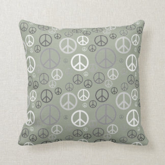 Scattered Peace Signs Grey SPST Throw Pillow