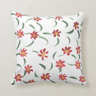 Scattered red flower throw cushion
