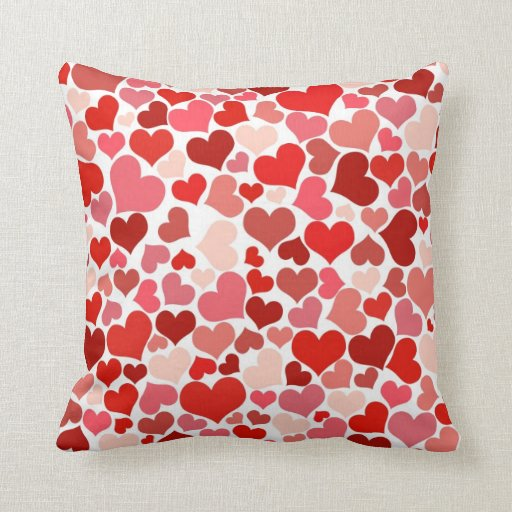 Red Heart Decorative Pillow : Scattered Red Maroon Hearts Pattern Throw Pillow Zazzle