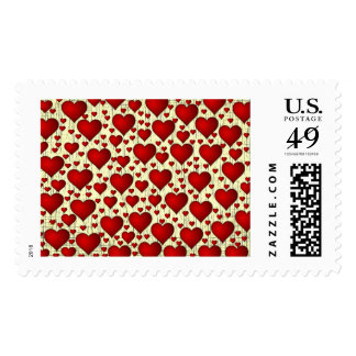 Scattered Red Yellow Distressed Hearts Pattern Postage Stamp