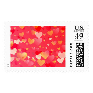Scattered Red Yellow Distressed Hearts Pattern Stamp