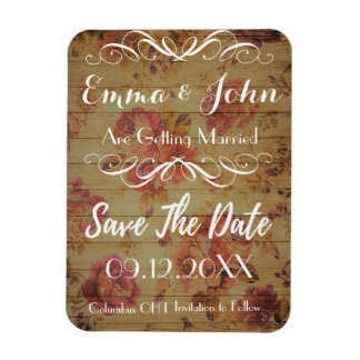 scattered Roses  Save the Date white script Magnet