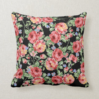 Scattered Roses Throw Pillow on Black Background