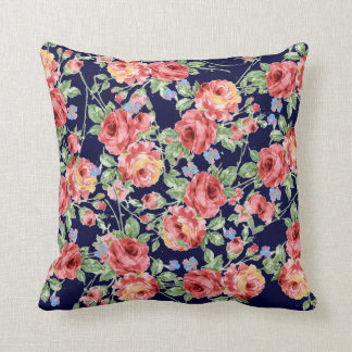 Scattered Roses Throw Pillow on Blue Background